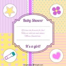 可爱婴儿淋浴邀请与元素