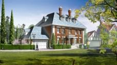 别墅绿化效果设计图片