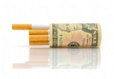 美元与香烟图片