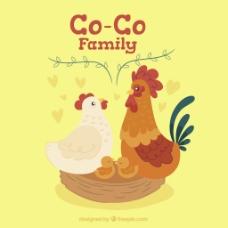 一家小鸡小动物素材