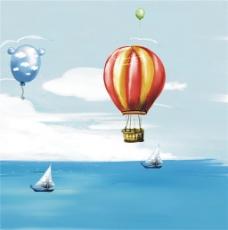 大海热气球装饰画