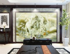玉石雕刻水墨山水电视机背景墙设计素材
