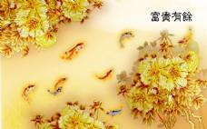 金色花卉装饰背景墙
