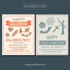 带有恐怖物品的万圣节派对卡片