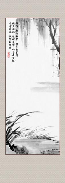 水墨柳树挂画图片