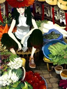 卖菜的女孩图片