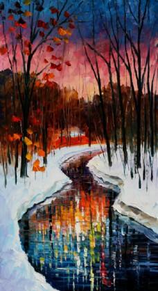 树林小溪风景油画写生图片