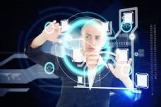 美女与商务科技的背景图片