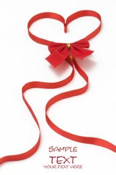 有蝴蝶结的心形丝带图片