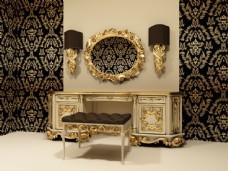 古典家具-化妆镜与柜子图片图片