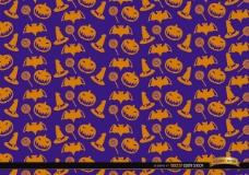 橙色万圣节物体纹理紫色背景