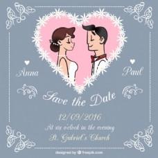 漂亮的婚礼卡片与图纸