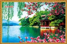 春光明媚风景中堂画图片