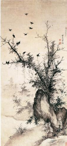 树叶国画图片