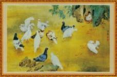 国画鸽子中堂画图片