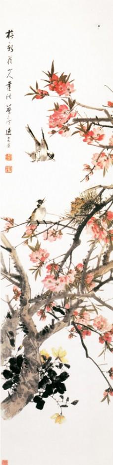 水墨桃花花鸟画图片