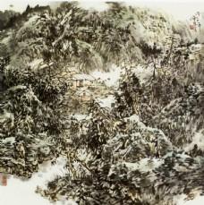 树木风景房屋水墨画图片
