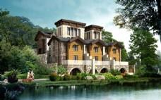 高档别墅景观设计效果图片
