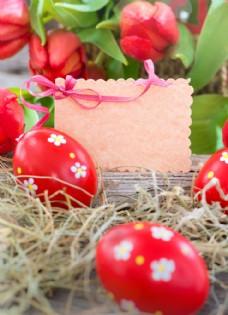 红色彩蛋和卡片图片