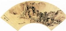 山水图扇面装饰画
