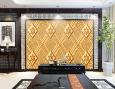 菱形花纹背景墙