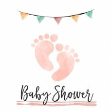 水彩婴儿淋浴卡女孩