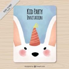 带可爱兔子的水彩邀请