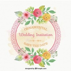 带鲜花结婚卡的圆形框架