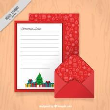带彩色礼品和红包的圣诞信件