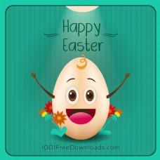 复活节插图鲜花和卡通蛋