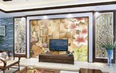 玉石雕刻花开电视背景墙设计素材