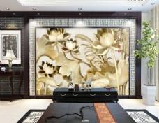 浮雕花卉荷花背景墙