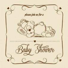 婴儿淋浴复古卡