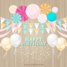 可爱的生日气球和彩带装饰