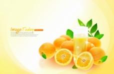 橙子橘子健康饮品饮料海报 PSD高清
