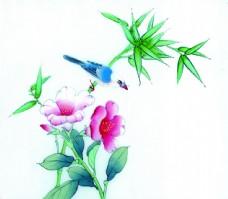 花卉植物与小鸟图片