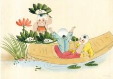 荷塘小船上玩耍的儿童图片