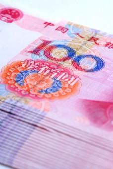 一摞崭新的壹佰圆人民币图片