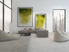 客厅无框画装饰效果图片