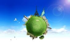 绿色地球与建筑物图片