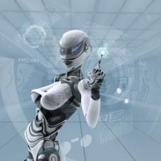 点击触摸屏的女性机器人图片