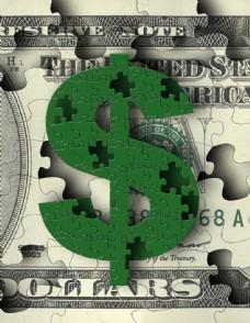 钱币与拼图素材图片