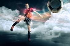 踢足球的男人图片