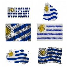 乌拉圭国旗地图图片