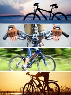 野外自行车特写图片