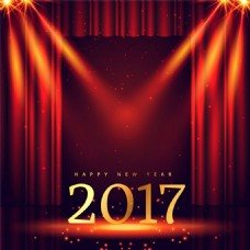 红色帷幕2017新年舞台背景矢量素材