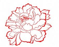 线条牡丹花