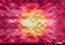 中心粉红色多边形背景橙
