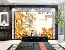 花卉元素浮雕背景墙