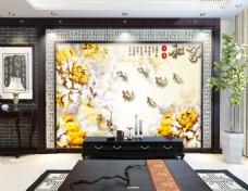 金色花卉浮雕背景墙